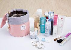 Mermaid Barrel Shaped Travel Cosmetic Bag Nylon High Capacity Drawstring Elegant Drum Wash Bags Makeup Organizer Storage Bag PINK