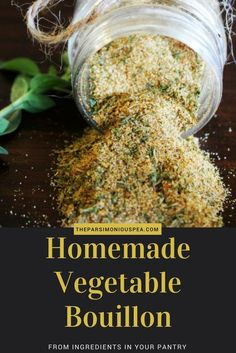 MSG Free Homemade Vegetable Bouillon Powder - - This delicious vegetable bouillon is made from common ingredients that you already have in your pantry. It is MSG free, natural, and versatile. Homemade Spices, Homemade Seasonings, Homemade Dry Mixes, Homemade Italian Seasoning, Whole Food Recipes, Cooking Recipes, Easy Cooking, Organic Cooking, Grilling Recipes