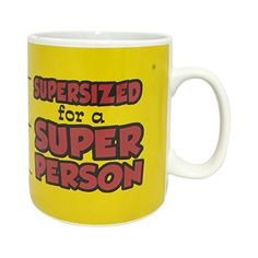 """Creative Motion """"Supersized for a Super Person"""" Giant Mug, Yellow"""