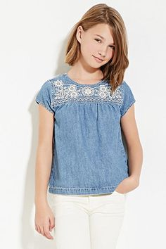 Camiseta Denim con Bordados - Niña | Forever 21 Girls - 2000151261