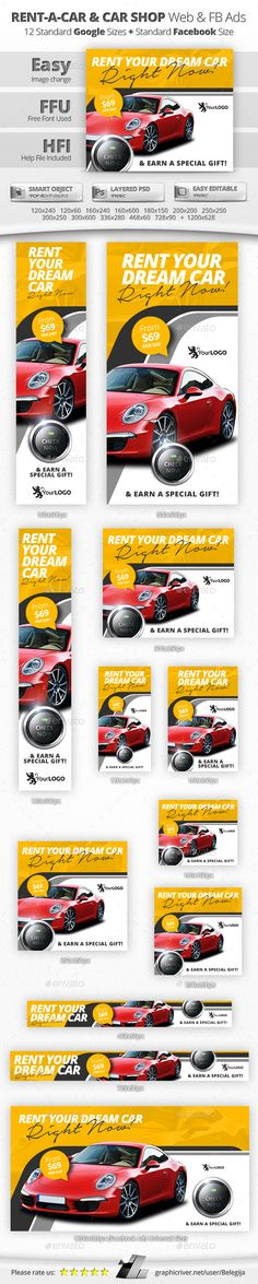 Fitness Banners Banner template, Web banners and Banners - car ad template