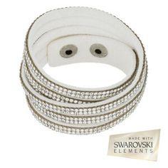 Bracelet Double tour blanc, cristaux SWAROVSKI® ELEMENTS blancs L max : 38 cm