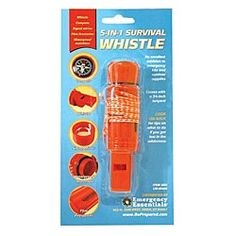 Emergency Essentials 5-in-1 Survival Whistle. Includes a: waterproof match compartment, liquid-filled luminous dial compass, shrill signal whistle, signal mirror, and flint firestart. $1.50