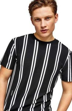 Topman Stripe Pique T-Shirt Vertical Striped Shirt, Fashion Outfits, Mens Fashion, Mens Clothing Styles, Aesthetic Clothes, Mens Tees, Shirt Designs, T Shirt, Jafar