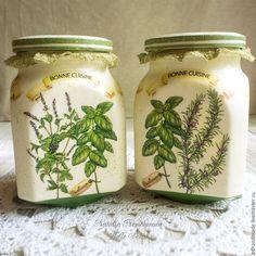 """Купить Банка """"Bonne Cuisine"""" - зеленый, банка для сыпучих, банка для хранения, травы, для кухни, стекло"""