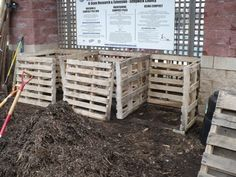 3 bin compost boxes from pallets Wooden Pallets, Growing Vegetables, Vegetable Garden, Home And Garden, Composting, Building, Boxes, Diy, Outdoors