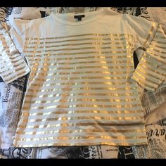 J Crew Stiped Top Never worn. Really soft material with metallic gold stripes. J. Crew Tops Blouses