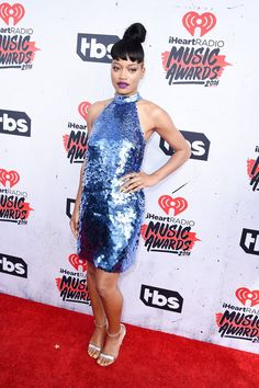 Pin for Later: All the Looks From the iHeartRadio Music Awards That People Will Be Talking About All Week Long Keke Palmer In a sparkly blue dress.