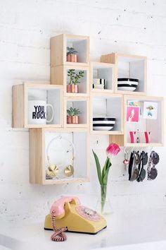 déco adulte mur chambre ado étagères bois vintage déco fleurs