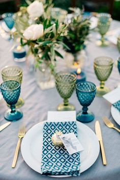 Rustic Blue Wedding Table Setting DIY Centerpiece in teal and olive green from wedding on the Greek island of Santorini destination wedding Wedding Table Themes, Wedding Favor Table, Wedding Table Settings, Wedding Favors, Wedding Reception, Wedding Ideas, Reception Food, Wedding Car, Wedding Designs