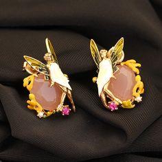 Les Nereide Enamel Paris Luxurious Stud Earrings Angel Flower Fairy Pink Gem Gold Plated  Women Earrings