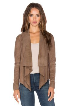 Muubaa Chester Drape Front Jacket in Taupe | REVOLVE