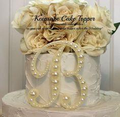 Pearl KEEPSAKE Monogram Wedding Cake Topper by InitialMoments, $45.00
