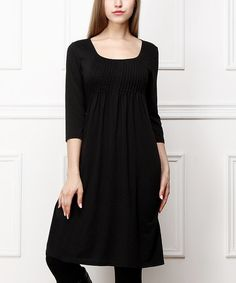 Another great find on #zulily! Black Pin Tuck Scoop Neck Dress #zulilyfinds