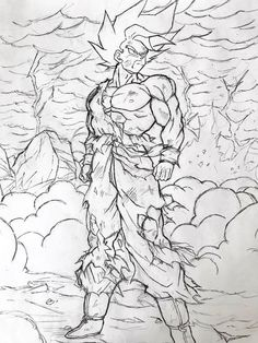 Goku Drawing, Ball Drawing, Dbz Drawings, Dragon Images, Animes Wallpapers, Dragon Ball Gt, Pictures To Draw, Line Art, Sketches