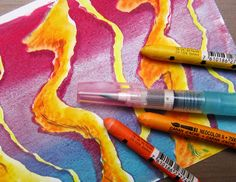 Gelli™ Printing On-the-Go! Derwent Inktense Pencils and Caran d'Ache NeoColor II crayons are both water-soluble. Great for adding more color and detail to your dry prints! And don't forget a pencil sharpener!