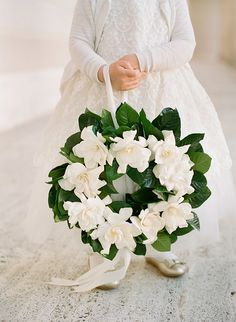 Wedding Wreath Ideas with Gardenia for Flower Girls Snippet & Ink
