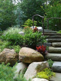 13 Decorative Boulder Steps And Path Ideas For Beautiful Backyards Garden Stairs, Garden Bridge, Garden Paths, Garden Landscaping, Garden Borders, Landscape Design, Garden Design, Creative Landscape, Boulder Garden