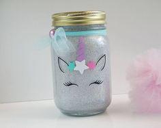 Unicorn Glitter Light - Unicorn Mason Jar - Unicorn Mason Jar Light - Unicorn Lantern - Unicorn Room Decor - Night Light - Children's Room