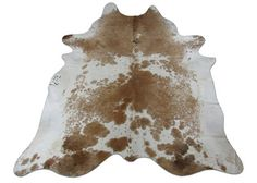Brown u0026 White Cowhide Rug Size: 8.4 X 7.5 ft XL Spotted Brown