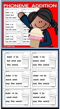 "This fun print and play activity will help students master the skills of phonemic addition and reinforce phonemic awareness. Students will read a word and then add an extra sound thus creating a new word.  There is a game board ""Double Scoops""  (colored and black/white) and 92 task cards designed to engage learners. Kindergarten Reading Activities, Reading Resources, Kindergarten Teachers, Elementary Teacher, Addition Activities, Play Activity, Emergent Readers, Reading Intervention, Letter Recognition"