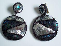 Big Sequin Clip-on Earrings: Silver/Black Transvestite Drag Queen in Jewellery & Watches, Costume Jewellery, Earrings | eBay