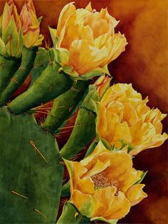 Full House, by Heidi Rosner, is a Prickly Pear cactus watercolor painting of a blooming prickly pear cactus. Rosner paints watercolors of plants and cacti.