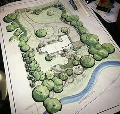When the wife is away, the husband will play; in the dirt. Landscape Architecture Drawing, Landscape Sketch, Landscape Design Plans, Garden Design Plans, Landscape Drawings, Garden Drawing, Drawing Art, Raised Bed Garden Design, Diy Garden Projects