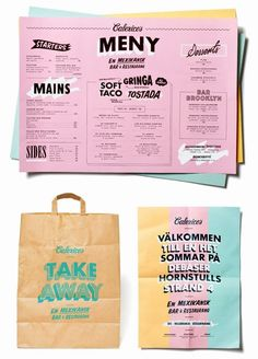 "Calexico's menu and branding: their brief was ""to create an identity that would feel like a street taqueria gone mad with luxury. Poster Cars, Poster Sport, Poster Retro, Dm Poster, Design Poster, Corporate Design, Graphic Design Branding, Typography Design, Stationery Design"