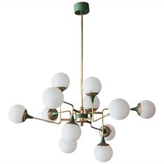 Twelve Globe Stilnovo Chandelier, Italy, 1950 | From a unique collection of antique and modern chandeliers and pendants  at https://www.1stdibs.com/furniture/lighting/chandeliers-pendant-lights/
