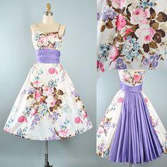 Vintage Emma Domb 50s Dress / 1950s Floral ROSE Print Cotton