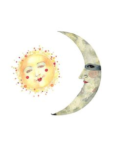 Print Sun and Moon illustration 8x11 by ChasingtheCrayon on Etsy, £12.00