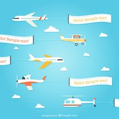Flying planes with banners template Free Vector Free Plane, Airplane Birthday Cakes, Birthday Party Themes, Birthday Cards, Time Flies Birthday, Airplane Banner, Flying Banner, Plane Drawing, Beach Mural