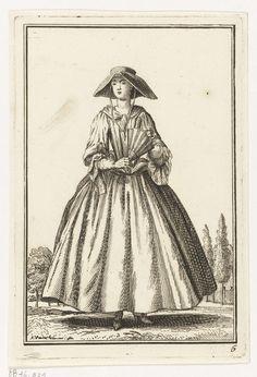 Vrouw met hoed en waaier, Adolf van der Laan, ca. 1710 - 1755