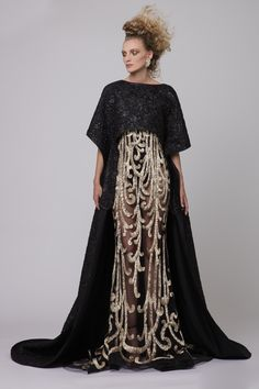 """Azzi & Osta Couture Fall/Winter 16/17   """"Promises Of Dawn""""     Black, Gold, Cape, Dress, Fishtail,Tulle, Brocade, Lurex Hand Embroidery, Metallic Gold Thread"""