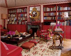 ELLE Decor Red room by Lisa Fine red fabrics from Fine's textiles