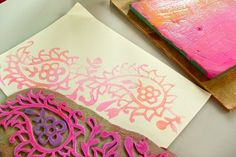 My big fat bag of art journal tricks... by Smallest Forest, via Flickr DIY- craft foam stamps