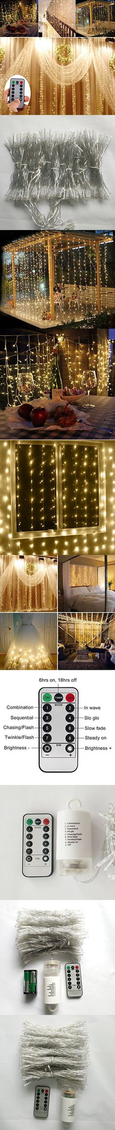 Battery Operated 300 LED Curtain String lights w/ Remote & Timer, Outdoor Curtain Icicle Wall Lights For Wedding Backdrops, Christmas, Holiday, Camping Decoration (9.89.8ft, Dimmable, Warm White)