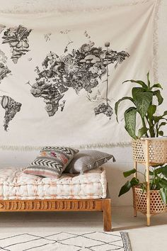 Beautiful cotton tapestry topped with a custom graphic by Philadelphia-based illustrator Armando Veve. Perfect to accent a wall or top off a couch or bed! Complete with fringe detailing. #affiliatelink
