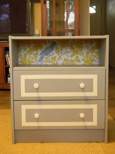 Nightstand-same small dresser, but another variation without the top drawer. I like how this continues the bird theme.