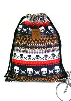 Skull Backpack Canvas drawstring bag Cotton Backpack by YourBags