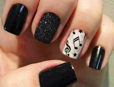 Accent music note nails