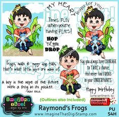 Too Cute!  A boy and his frogs - cute sentiments too!