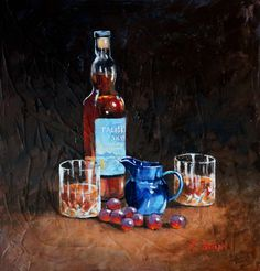 A Wee Dram acrylic painting