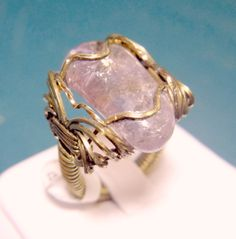 Amethyst natural stone wire wrapped in yellow brass, size: 11, $49.95