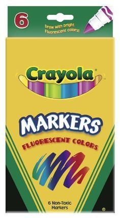 Crayola 6ct Fluorescent Colors Conical Tip by Crayola. Save 10 Off!. $4.47. Fun coloring. Fluorescent Colors. Made in America. Broad line. Non washable. From the Manufacturer                Crayola 6ct Fluorescent Colors Conical Tip. Fluorescent colors. Fun coloring.                                    Product Description                Non-Washable Markers
