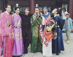 there are many things to love about this photo, but LJK in normal clothes whilst everyone else is in costume is the best. Scarlet Heart Ryeo Funny, Scarlet Heart Ryeo Cast, Baekhyun Moon Lovers, Moon Lovers Drama, Scarlet Heart Ryeo Wallpaper, Wang So, Korean Hanbok, Joo Hyuk, Kdrama Actors