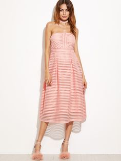 Pink Hollow Out Flare Tube Dress -SheIn(Sheinside)
