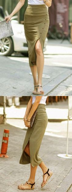 I love the casual look of this pencil skirt; the fabric looks soft and comfy; the button detail dresses it up a bit.