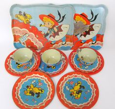 50 Off Sale Vintage Tin Toy Dishes Childrens Dishes by teresatudor, $16.99